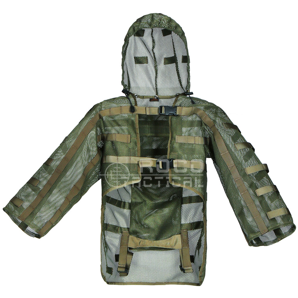Ghillie Suits by ROCOTACTICAL Sniper Coats Airsoft Sniper Hoods with Built-in Hydration Bladder Carrier (Hydration Compatible)