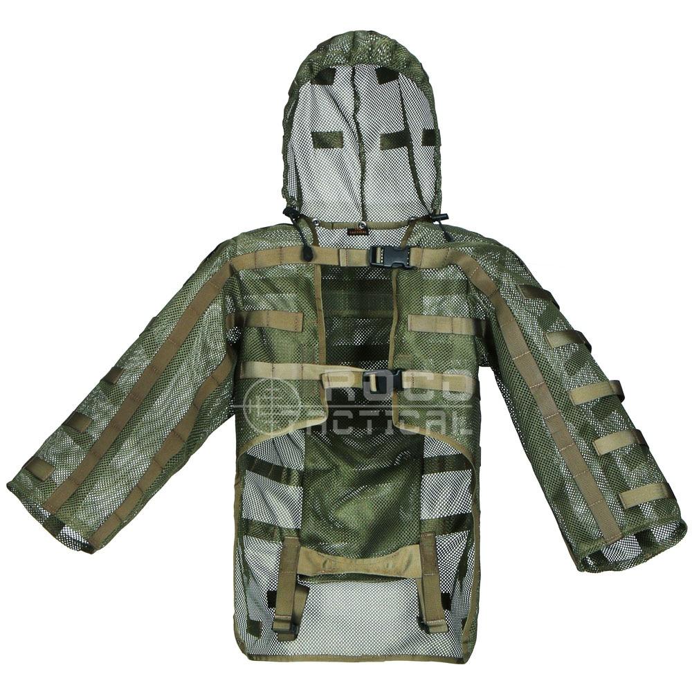 Ghillie combinaisons par ROCOTACTICAL Sniper manteaux Airsoft Sniper hottes avec support de vessie d'hydratation intégré (Compatible hydratation)