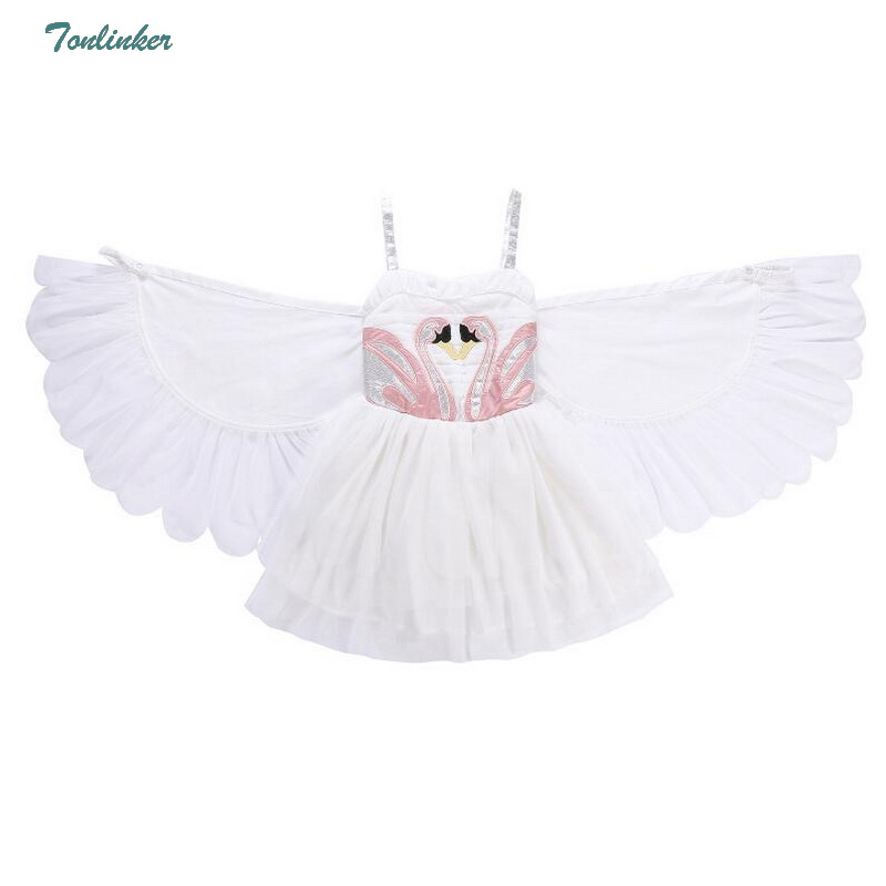 Little Girl Flamingos Tutu Dress up Costume With Wings Princess Kids Girls Cosplay Fancy Party Halloween Gift New 2-10 Yea