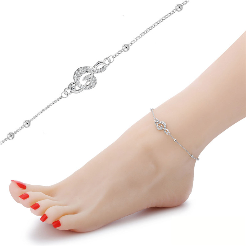 Clear Crystal Charm Anklet Musical Symbol Treble Clef Music Jewelry