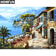 HOMFUN Full Square/Round Drill 5D DIY Diamond Painting Seaside town Embroidery Cross Stitch 5D Home Decor Gift A06749 homfun 5d diy diamond painting full square round drill seaside house embroidery cross stitch gift home decor gift a09059