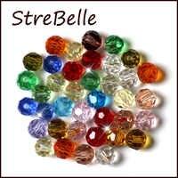 Mezcla de Color joyería de 100 unids/bolsa 32 facetado redondo de vidrio de cristal de 4 MM perlas de grado AAA