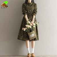 Donna Autunno Fashion Casual 100% Cotone Abbigliamento Mori Vintage Allentato Stile di Velluto A Coste Stampa Floreale Carino Vestito A Maniche lunghe Blu