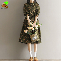 Women Autumn Fashion Casual 100 Cotton Clothing Mori Vintage Loose Style Corduroy Print Floral Cute Long
