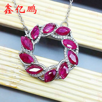 925 silver with natural ruby pendant female The horse eye shape 3 x6mm