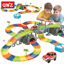QWZ New Racing Track with Car Race Track Bend Flex Electronic Rail Race Car Vehicle Toy Roller Coaster Toys Xmas Gifts for Kids