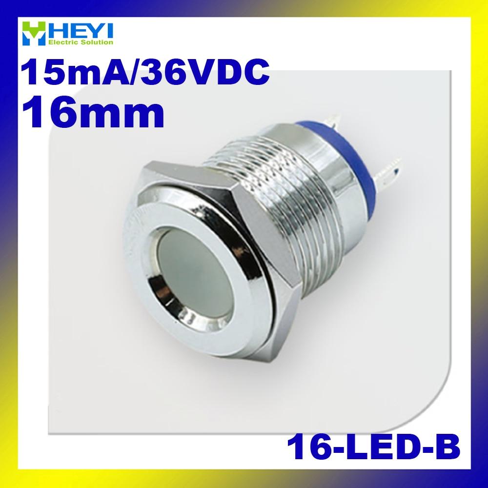 6V 12V 24V 36V 48V 110V 220V Metal indicator 16-LED-B 16mm mounting LED signal Lamp pilot light with pin