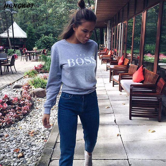 2018 Women Sweatshirts Ladies Causal Letter BOSS Printed Hooded Sweatshirt Long Sleeve Pullover Tops Sudadera Mujer Pullover
