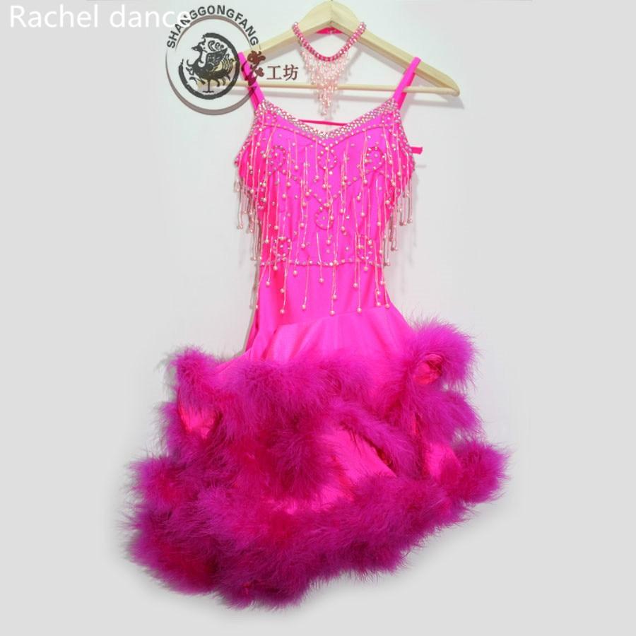 Latin Dancing Lotus Skirt Sequined Style V-Collar Back Open Sleeveless Samba Tango Dance Clothing Tassel Latin Dance Dress Set