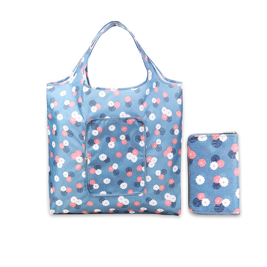 2019 New Flower Foldable Shopping Bags Reusable Folding Grocery Nylon Eco Tote Bag