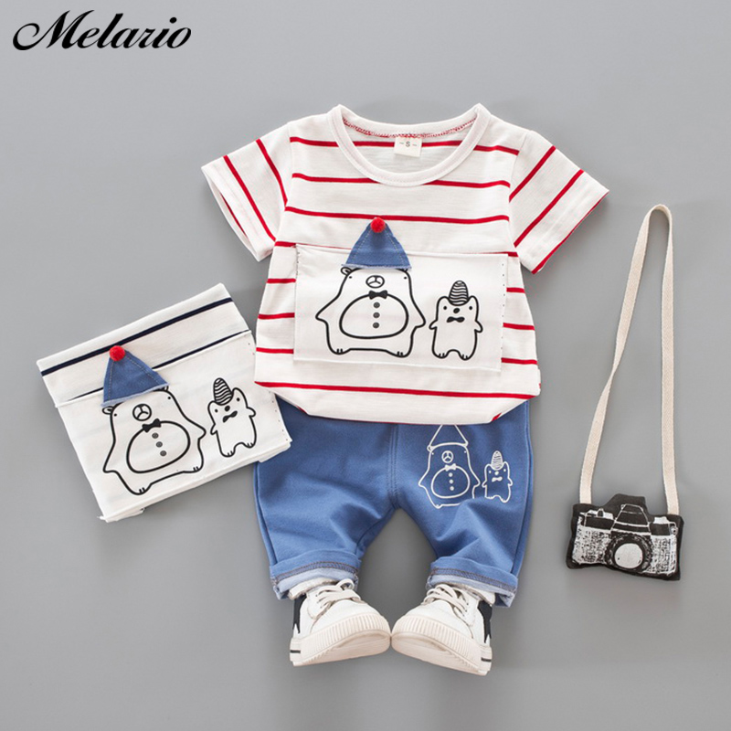 Toddler Boy Summer Short Sets Short Sleeve Cartoon Tee Shirt Striped Drawstring Shorts Trousers 2 Piece Outfit