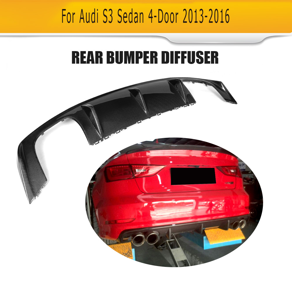 Carbon Fiber Rear Bumper lip spoiler diffuser for Audi A3 Sline S3 Sedan 4 Door bumper 2013 - 2016 Notfit A3 Standard carbon fiber car moulding decorative fins canards front sticker splitter for audi s3 sline sedan 4 door 13 16 not a3 standard page 8