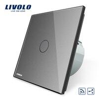 Livolo EU Standard 1Gang 2 Way Remote Switch Wireless Switch VL C701SR 15 Grey Color Glass