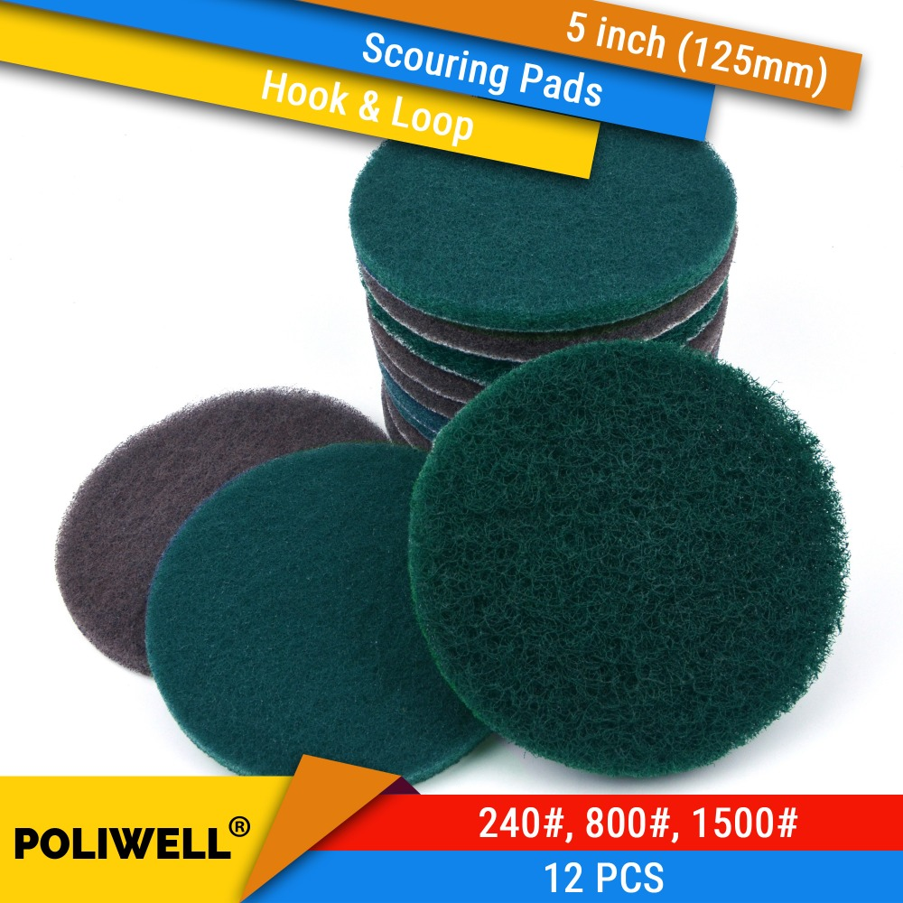 12PCS 5 Inch 125mm Round Hook&Loop Industrial Scouring Pads Heavy Duty 240#/800#/1500# Nylon Polishing Pad For Kitchen Cleaning