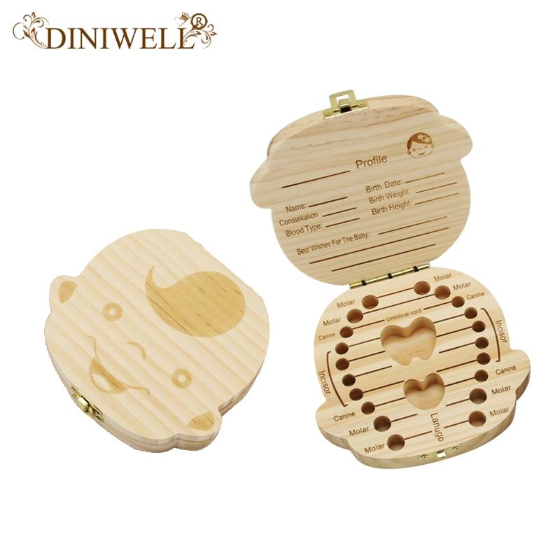 Skladovací koš DINIWELL Anglický a španělský chlapec dívka Baby zuby paměť Box Lanugo zachování dřevěné děti Dárkové úspory Cassett