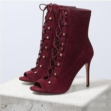 Sexy Heels Red Wine Suede Ankle Boots Peep Toe Lace-up Cut-out Cross Straps Tied Women Autumn Fashion Ladies Dress Shoes