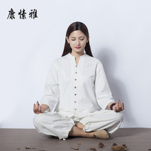 spring summer Women Yoga Set Cotton Linen Loose Shirt Wide Leg Pant Meditataion Uniform Tai Chi Martial Arts Suit