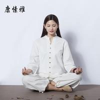 spring summer Women Yoga Set Cotton Linen Loose Yoga Shirt Wide Leg Yoga Pant Meditataion Uniform Tai Chi Martial Arts Yoga Suit