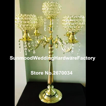 Whole Wedding Crystal Globe Centerpieces 5 Arm Metal Gold Candelabras Candle Holder In Glow Party Supplies From Home Garden On Aliexpress