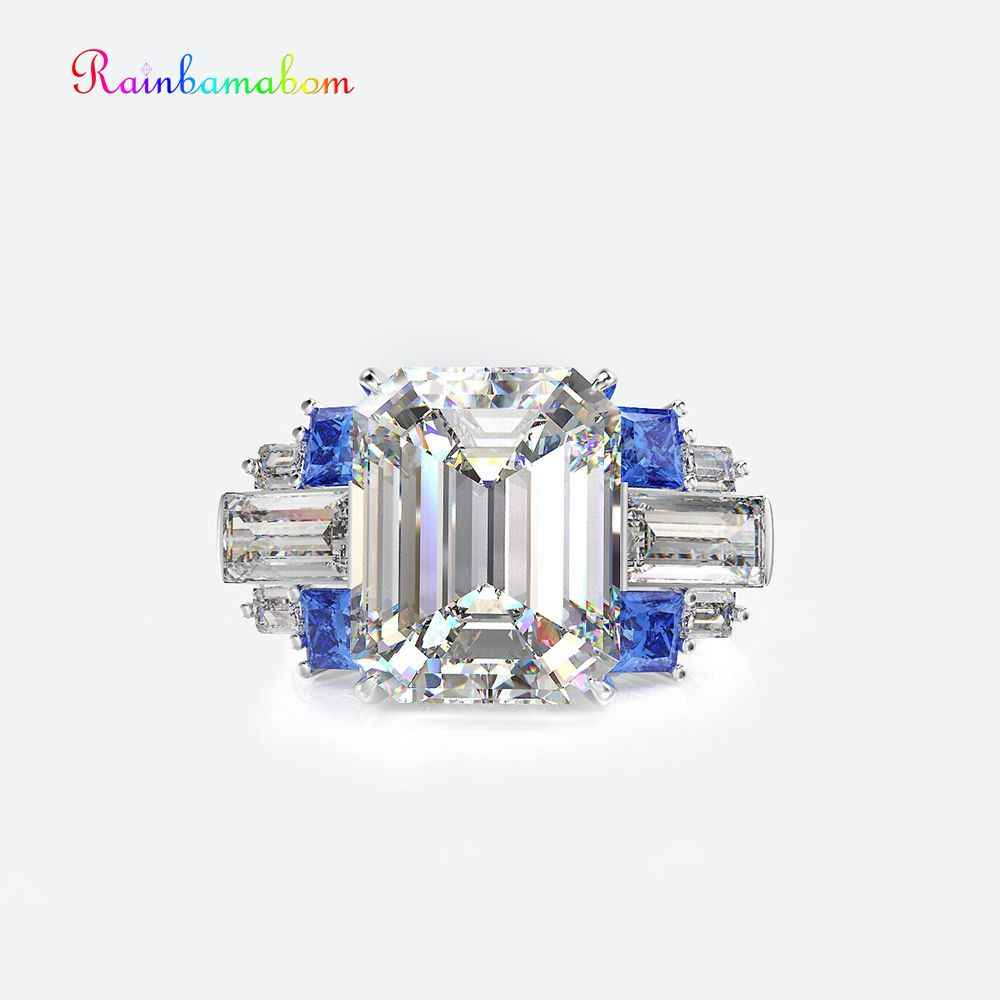 Rainbamabom 925 Sterling Silver Bạc Tạo Moissanite Tanzanite Đá Quý Cưới Tham Gia Vài Vòng Trang Sức Quà Tặng Bán Buôn
