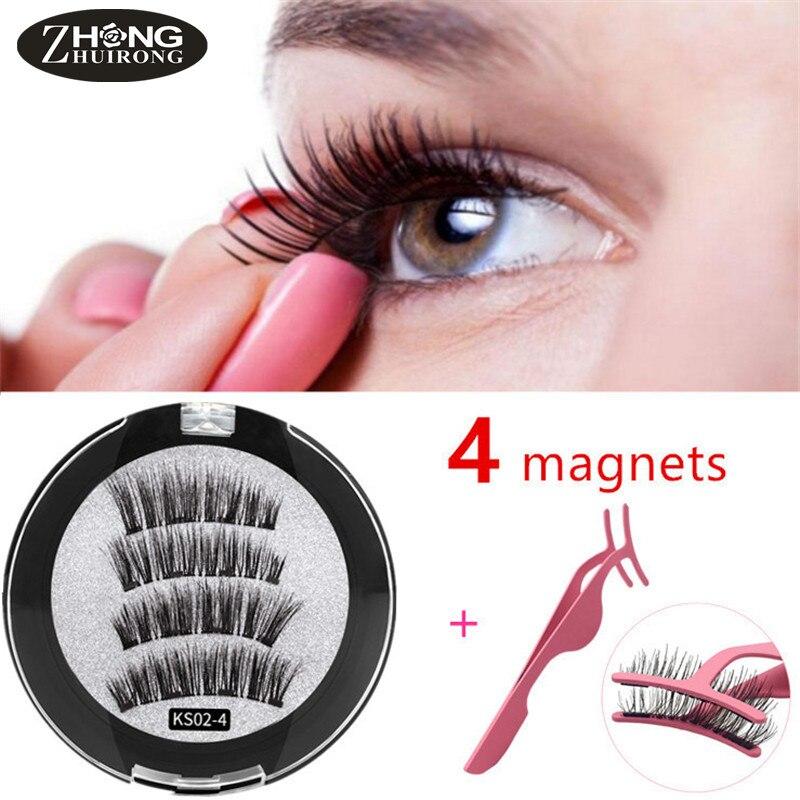 Classic Magnetic Eyelashes With 4 Magnets Natural Long False Eyelashes With Eyelash Applicator Magnetic Eyelashes Extension