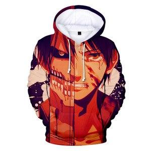 Image 2 - Anime ataque em titan 3d impressão digital casual camisola bolso com capuz moletom grandes bolsos com capuz moletom com capuz casaco de manga longa