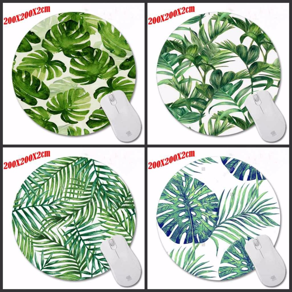 The Green Leaves New Arrivals Round Texture Computer Loptop Desktop Mice Mat Optical Anti-slip Gaming Mouse Pad 200*200*2mm