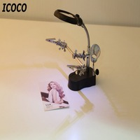 ICOCO 3.5x 12X 3rd Giúp Kẹp DẪN Chiếu Sáng Cầm Tay Đọc Magnifying Hàn Sắt Đứng Glass Len Bàn Kính Lúp Ánh Sáng