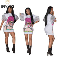 IMYSEN Summer Autumn Fashion Women Dress Cartoon Picture Printed Dresses Round Neck Short Puff Sleeve Mini