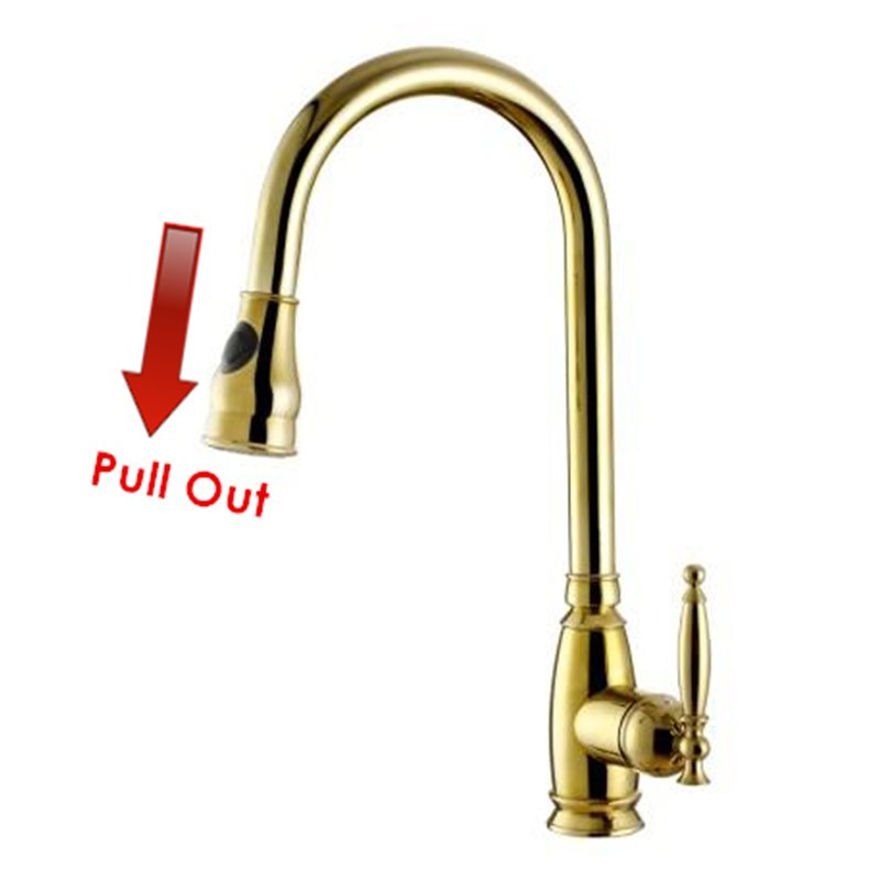 Luxury Polished Copper Swivel Robinet Para Torneira Golden Kitchen Faucet Pull Out Spray Sink Mixer Gooseneck Tap
