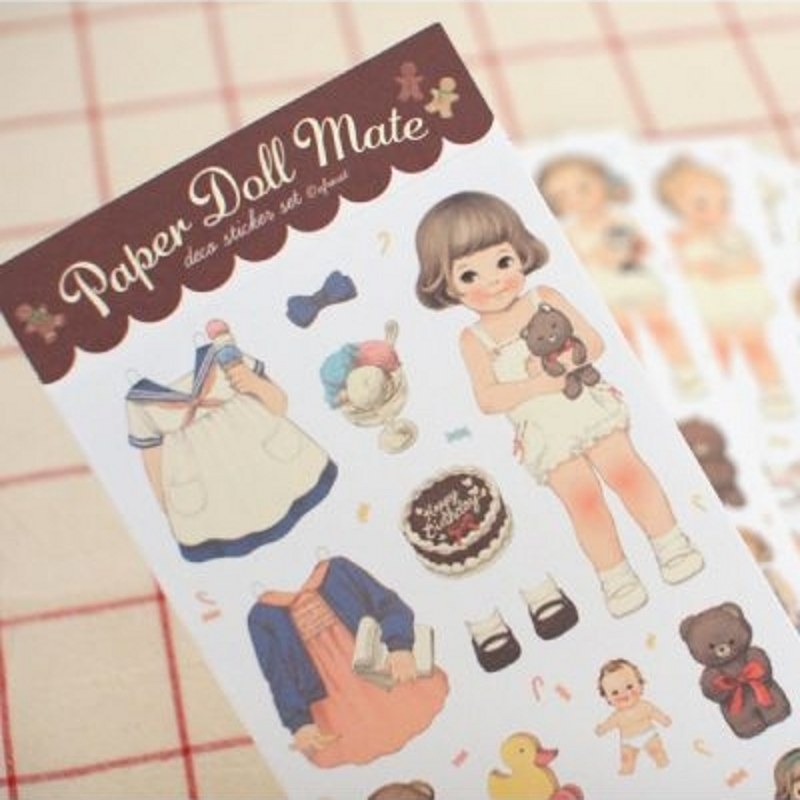 MQStyle 6Pcs/Pack New 2017 Cute Creative Stickers Paper Girl Combination Paper Doll Mate Stationery Sticker H0128