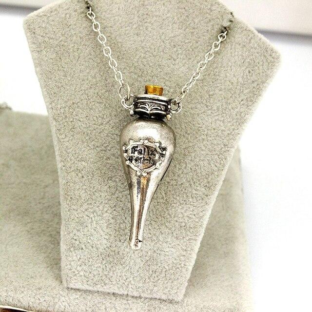 Felix Felicis Potion magique collier liquide chance bouteille Vingtage rétro Antique argent Bronze pendentif film bijoux en gros