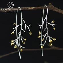 Lotus Fun Moment Настоящее стерлингового серебра 925 природных творческий ручной Модные украшения себе дерево Модные Серьги Brincos