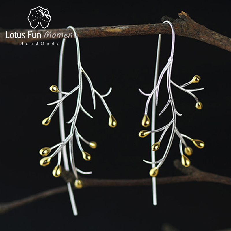 Lotus Fun Moment Real 925 Sterling Silver Natural Creative Handmade Fashion Jewelry Statement Tree Fashion Drop Earrings Brincos