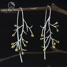 Pendientes de plata de primera ley con forma de árbol para mujer, aretes, aros grandes, plata esterlina 925, estilo moderno, varios colores, Lotus Fun