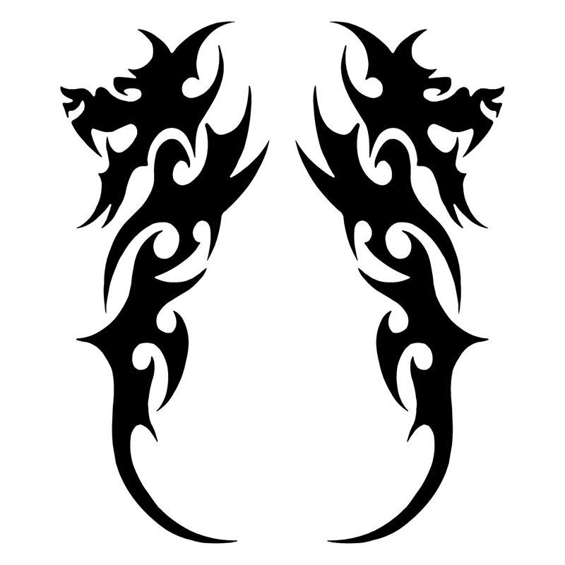 3.8*9.5 CM Par de Dragón Tribal Tatuajes Divertido Etiquetas Engomadas Del Coche