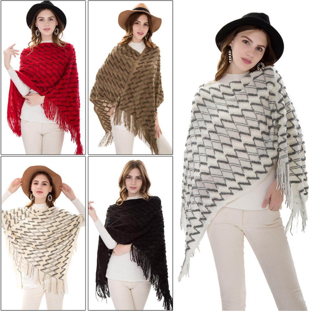 New winter knitted turtleneck cape shawl female fashion stripes European and American style ladies scarf cloak pullover