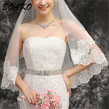 BOAKO 1.5M Short Wedding Veils One Layer Lace Flower Edge Appliques Bridal Veil 2019 New Cheap Accessories Veu de Noiva