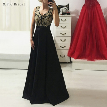 Elegant Mermaid Black Evening Dress Long 2019 New Arrival V Neck A Line Floor Length Satin Prom Gowns Hot Selling Party Dresses