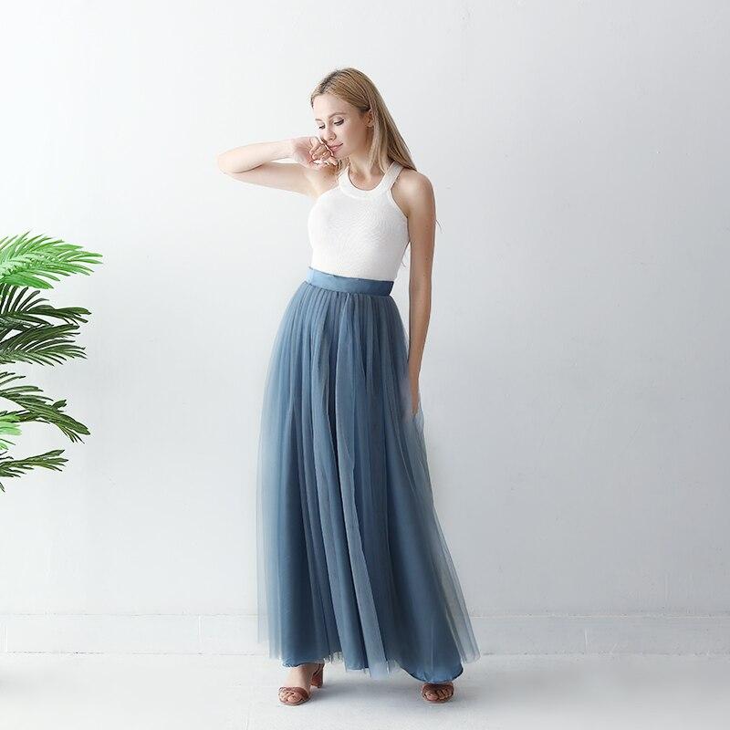 Girl Elastic Waist White Flower Mint Green Chiffon Posh Maxi Length Skirt 2-7Y