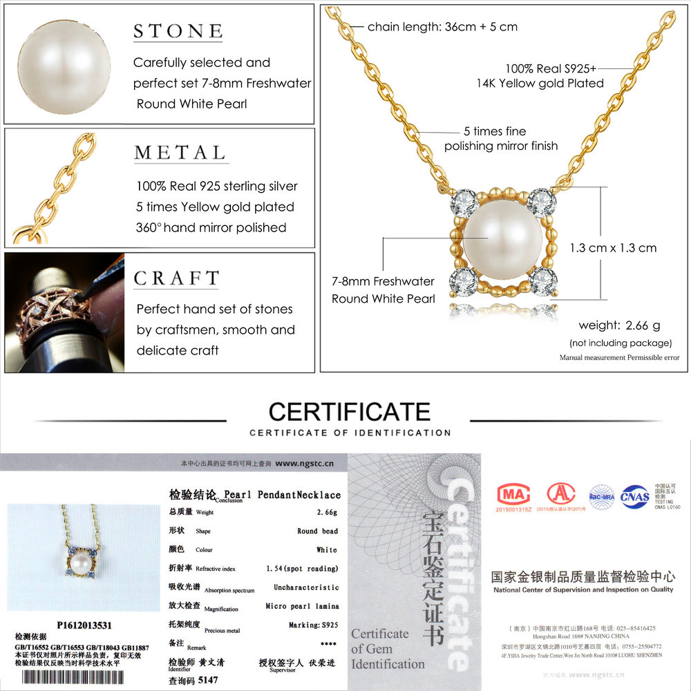 Natural Freshwater Pearl 14K Yellow Gold Plated Pendant Necklace