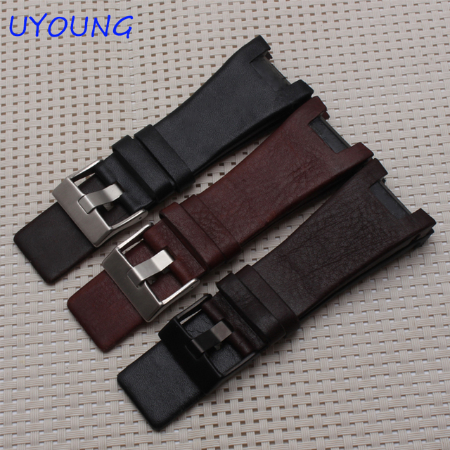 Quality Genuine Leather Watchband 32*17MM Notch For Mens Special interface Replacement Leather Strap For DZ1216 DZ4246