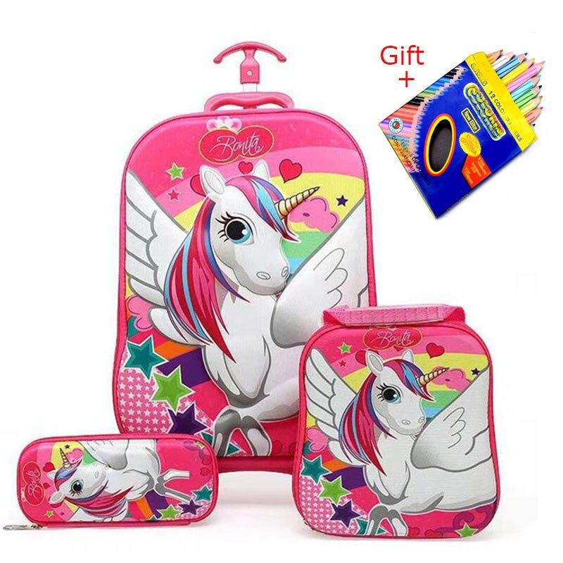 2018 New Children Backpack Children's School Backpack with Wheel Trolley Luggage Boys Girls School Backpack Children's Gift Bag