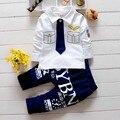 Qualidade Da Criança Meninos Roupas Ternos Do Bebê Meninos Laço Camisa + Calças Ternos Conjunto de Roupas Piloto Capitão Treino Camisas Dragona KD234