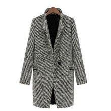 Autumn winter New Women Lapel Slim woolen coat jacket big yards long section thick warm Gray Plaid Wool Blends Outwear Female