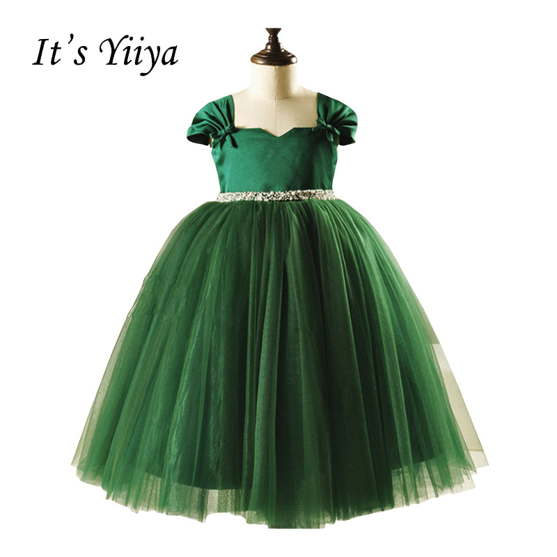 It's YiiYa Green Chiffon Short Sleeves Tea-length Bow Zipper Pearls Kids Gown Lace Princess   Flower     Girls     Dress   Communion TS184