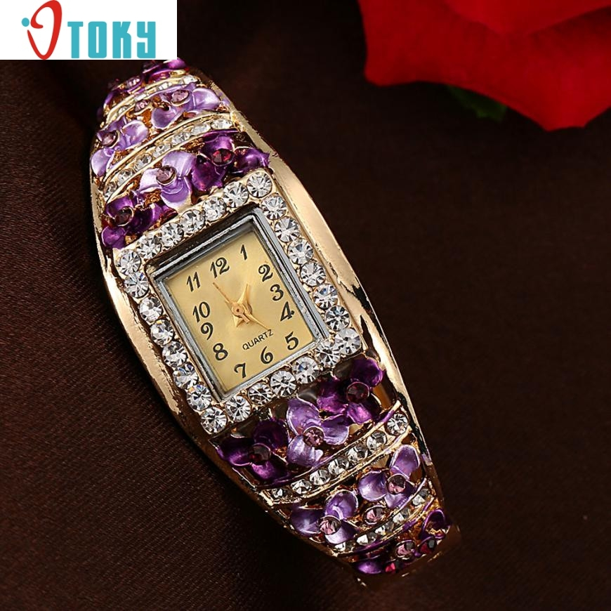 Hot Hothot Sales Elegant Bangle Watch Women Luxury Crystal Flower Bracelet Watches Luxury Quartz Watch relogio feminino at1