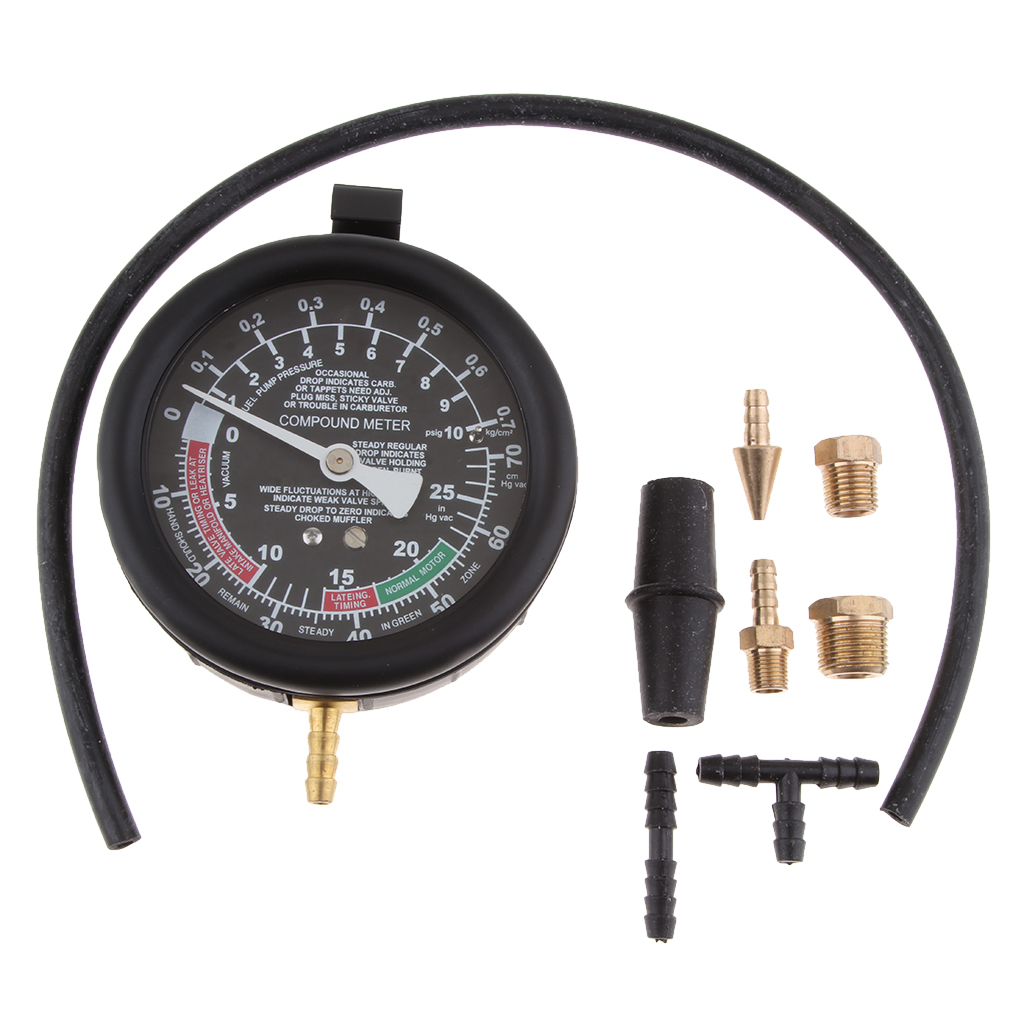 Fuel Pump /& Vacuum Tester Carburetor Valve Pressure Tester Gauge Kit Car Truck