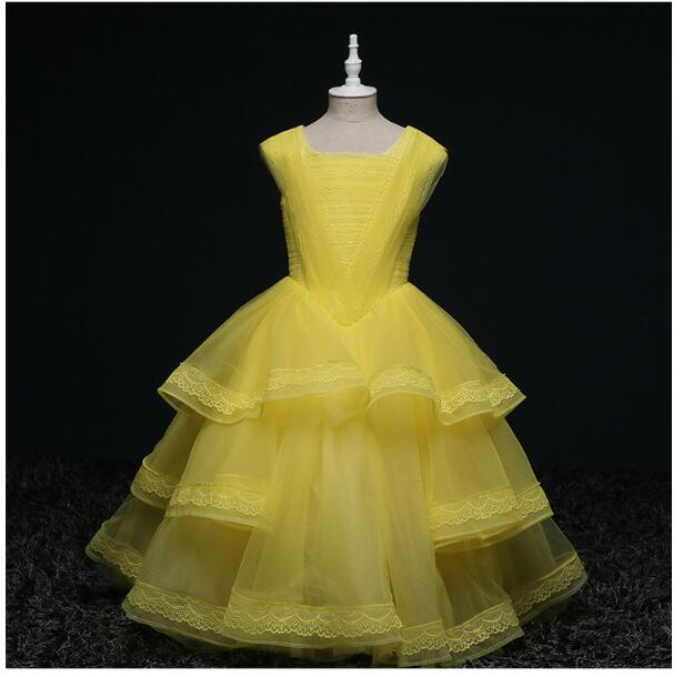 Girl's Formal Dress 2018 Flower Wedding Dresses Cute Kids Gauze Pleated Lace Party Ball Gown Children's Prom Dress Yellow 3-13Y sun flower print pleated dress