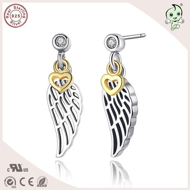 Очень популярны высокое качество золото любовь и перо S925 серьга стерлингового серебра женщины-заглушки